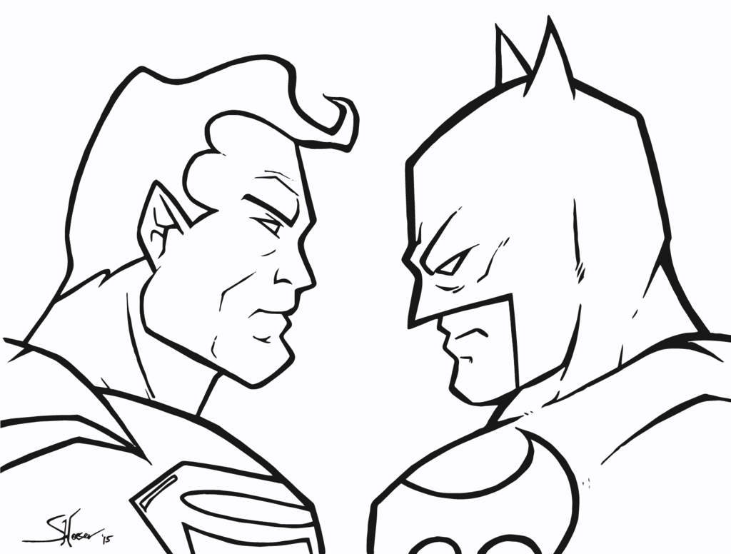 Dc Comics Superhero Superman Vs Batman Coloring Pages