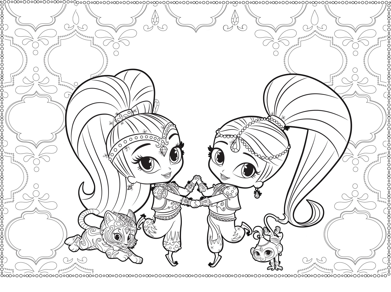 Shimmer And Shine Coloring Page For Adults