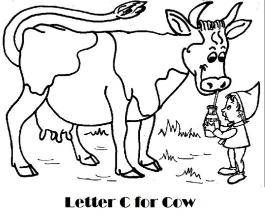 Alphabet-C-for-Cow-coloring-page