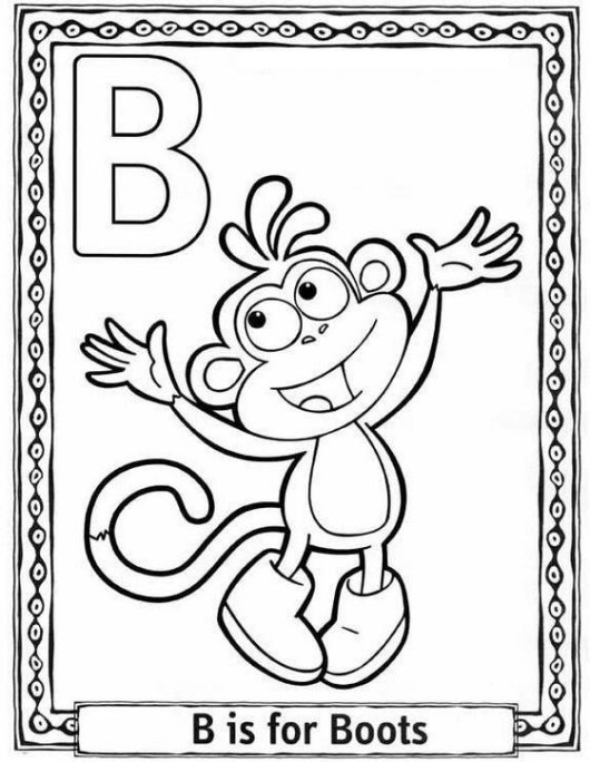 Letter-B-Dora-the-Explorer-coloring-page