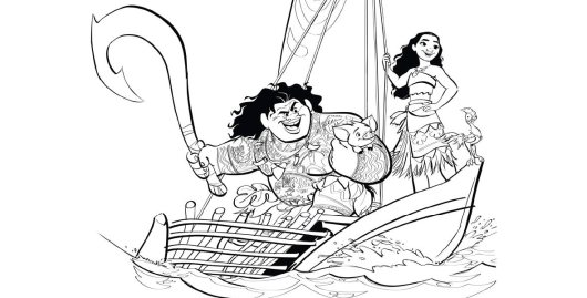 Looking-for-Moana-and-Maui-coloring-pages