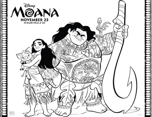Moana-and-Mui-Coloring-page-printable