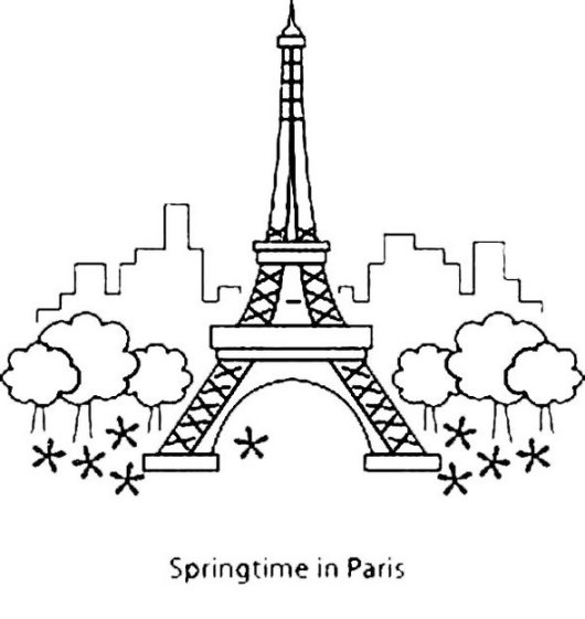 Paris-with-Eiffel-Tower-Landmark-Coloring-Page