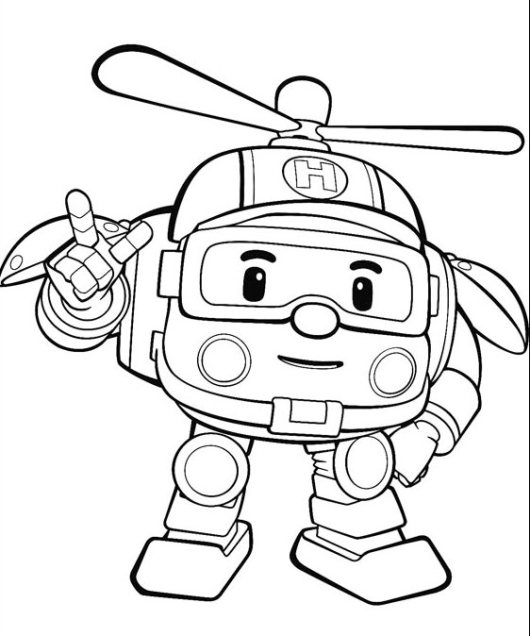 Robocar-Poli-Helicopter-coloring-page