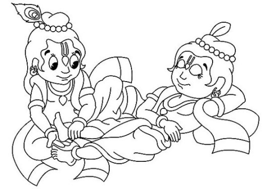 Teen-Krishna-Massages-Balarams-Feet-Coloring-Pages
