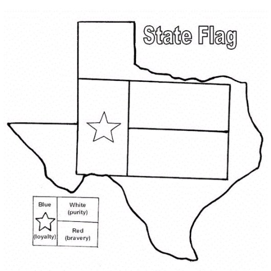 Texas-map-and-flag-Coloring-Pages