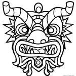 dragon mask head coloring page printable