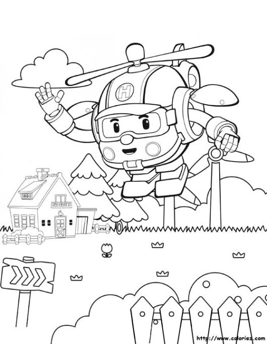 Heli robocar poli colouring page for Robocar poli coloring pages