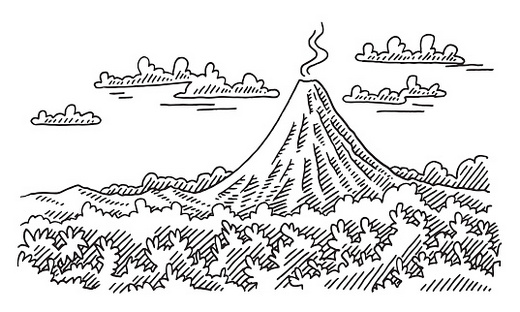 The full resolution volcano coloring pages coloring pages for Volcano coloring book pages