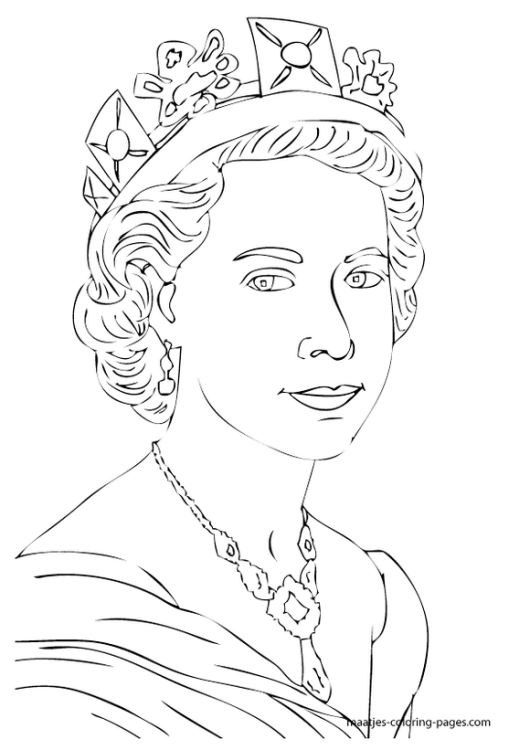 Line Drawing Of Queen Elizabeth Ii : Royal family uk elizabeth coloring pages