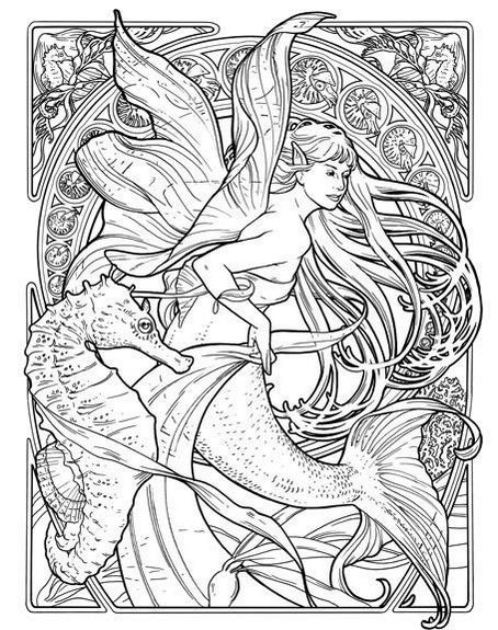 seahorse-and-mermaid-coloring-page-illustration