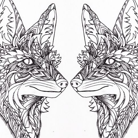 Two Fox Coloring Page