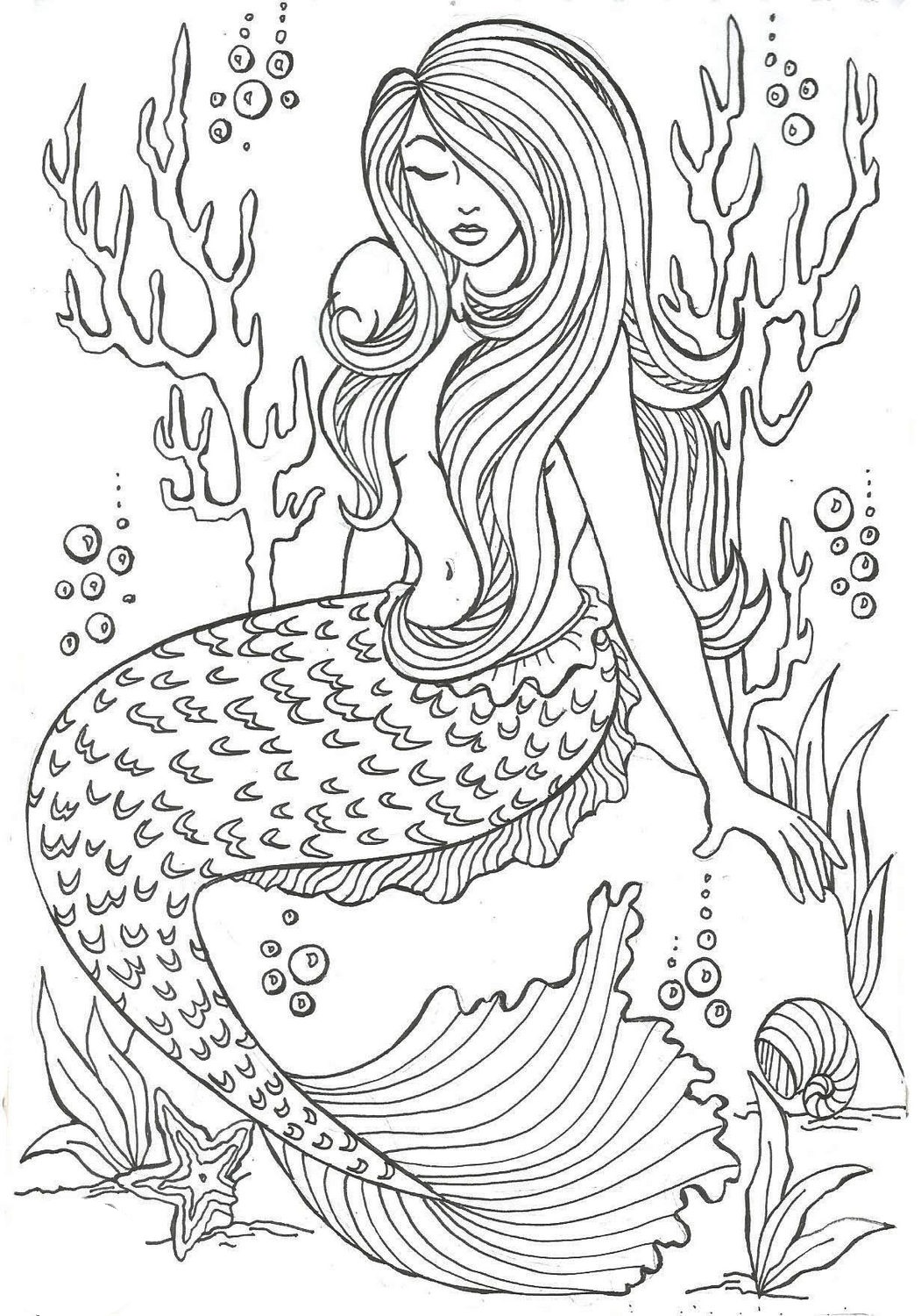 Realistic-Mermaid-Illustrations-Undersea-Coloring-Sheets