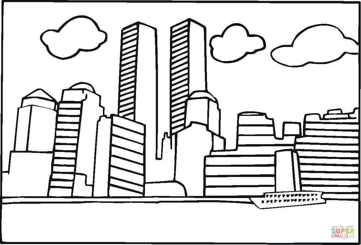 World Trade Center Wtc Before Twin 9 11th Coloring Page