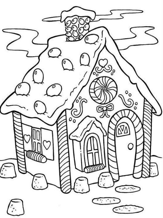 Gingerbread House Christmas Coloring Pages