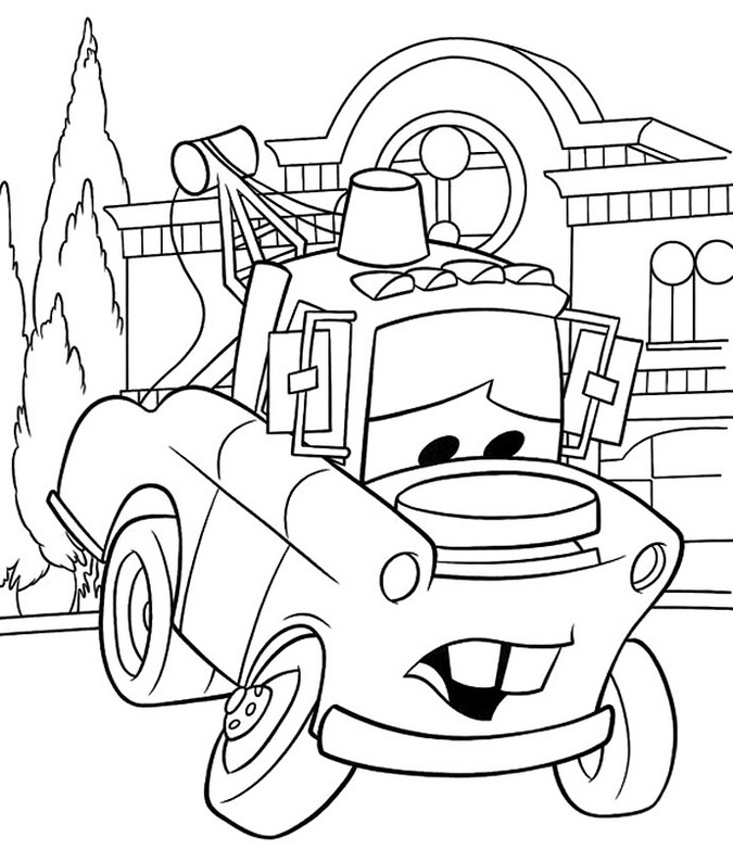 Mater Coloring Sheet Disney Car