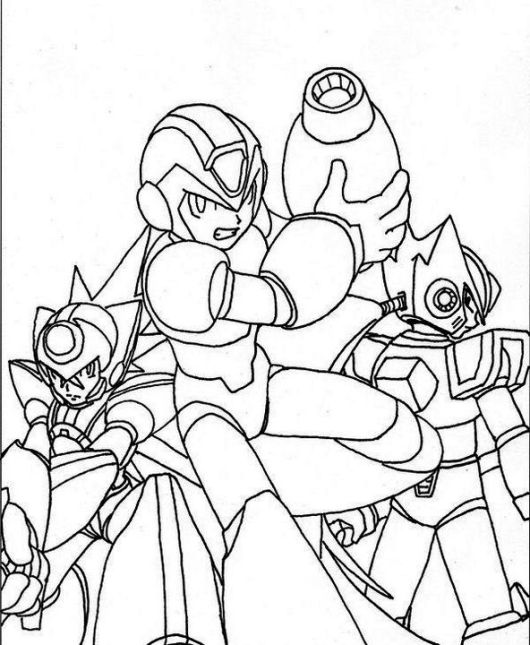 Megaman Transforms Coloring Page Group