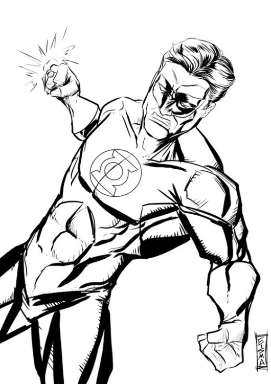 Green lantern coloring page to boost your child s for Lantern coloring pages