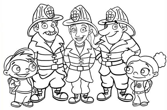 Group Of Firefighter Coloring Book