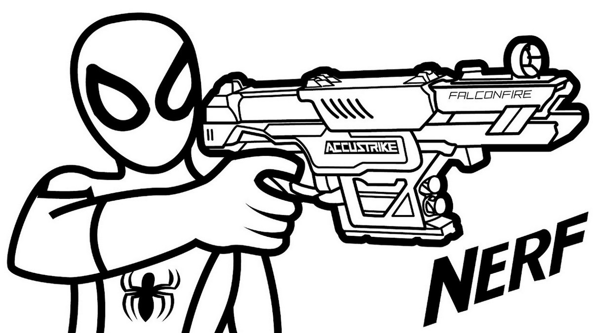 Nerf Gun Hold By Spiderman Coloring Page