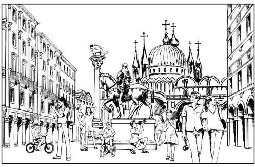 Venice Italy Coloring Page Cathedral Landmark