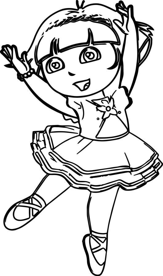 Dora The Explorer Ballerina Coloring Page