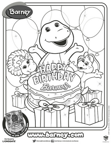 Birthday Barney Coloring Page To Print