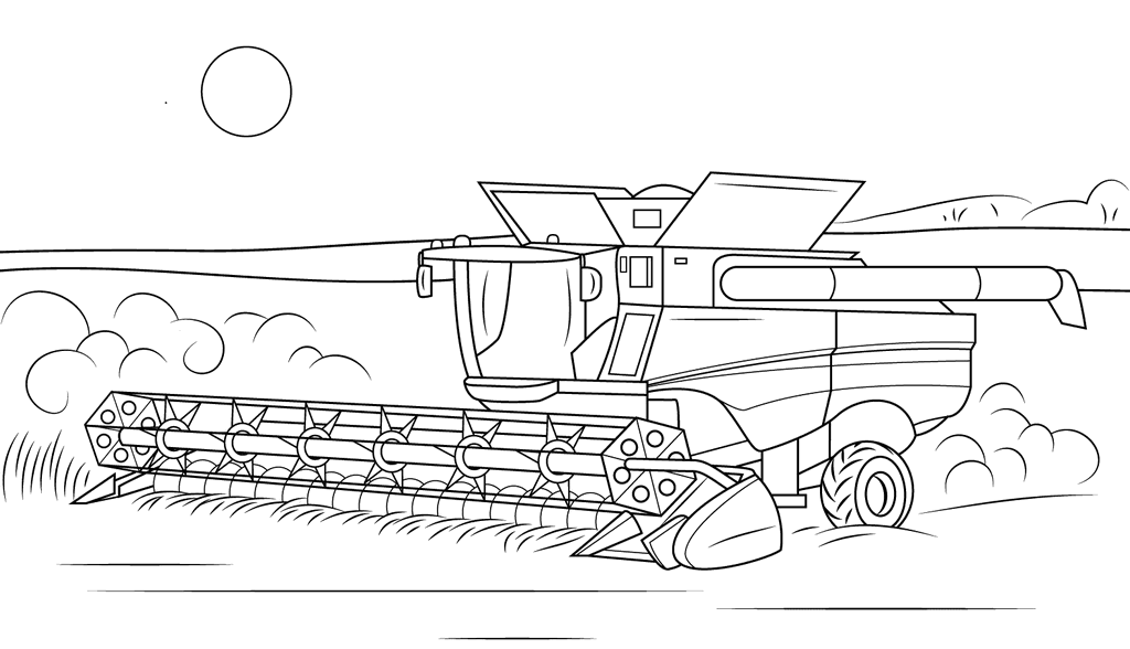 John Deere Combine Harvester Coloring Pages