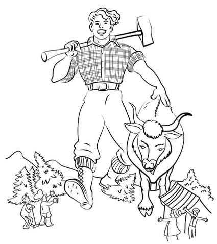 Paul Bunyan Coloring Pages And The Blue Ox