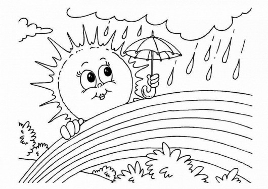 Printable Rainbow And Rain Coloring Pages
