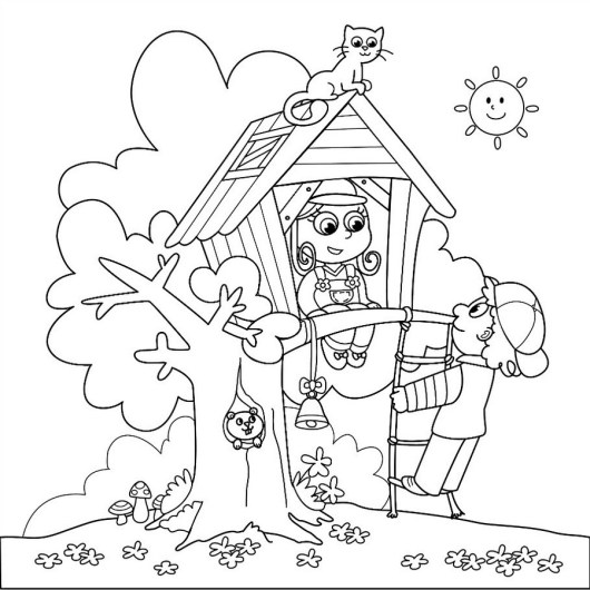 Tree House Coloring Page Printable