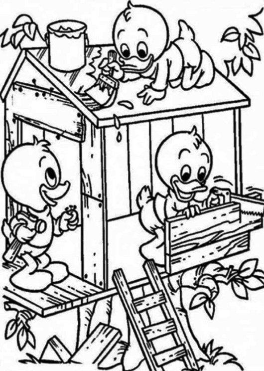 Tree House Donald Duck Coloring Page
