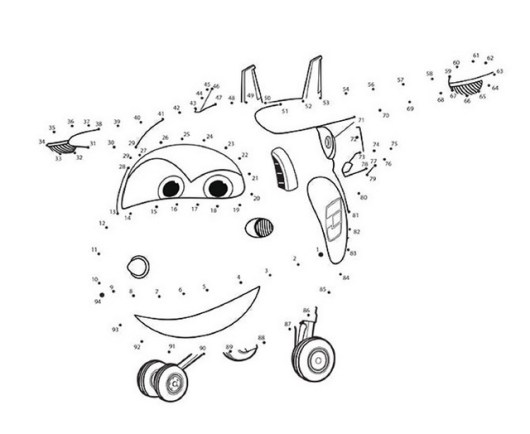 Connect The Dots Of Super Wings Coloring Pages