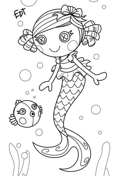 Coral Sea Shells mermaid Lalaloopsy coloring page