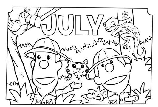 July Month of the Year Coloring and Activity Page