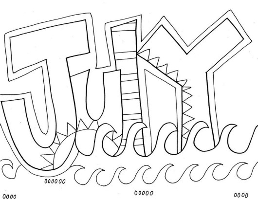 July Month of the Year coloring sheet
