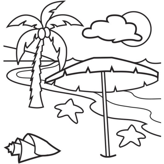 beach landscape with palm tree coloring page