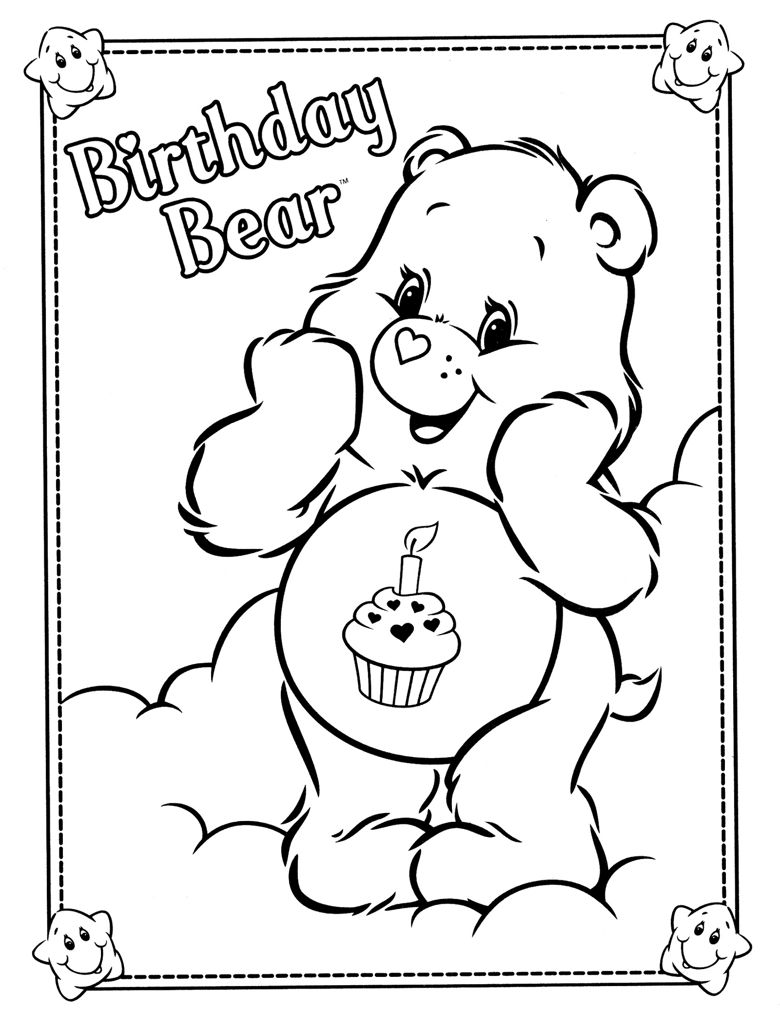 Birthday Bear From Care Bears Coloring Sheet