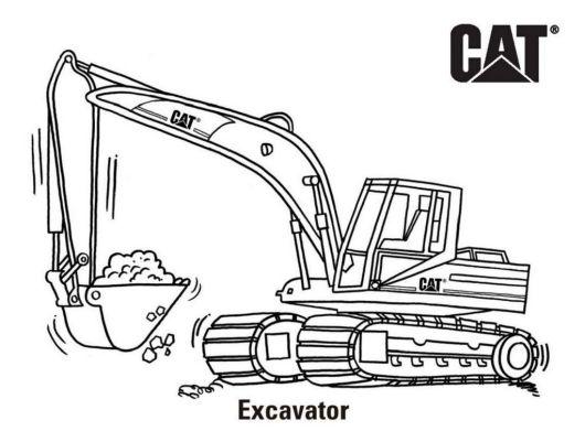 Excavator Cat Coloring Page Printable