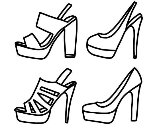 Models Of High Heels Shoes Coloring Pages