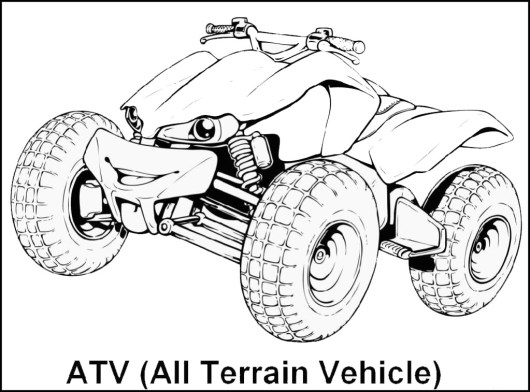 Car Engine Coloring Pages : Wheeler atv all terrain vehicle coloring sheet car