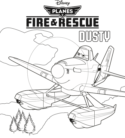 Dusty from Planes Fire and Rescue Disney Coloring Sheet