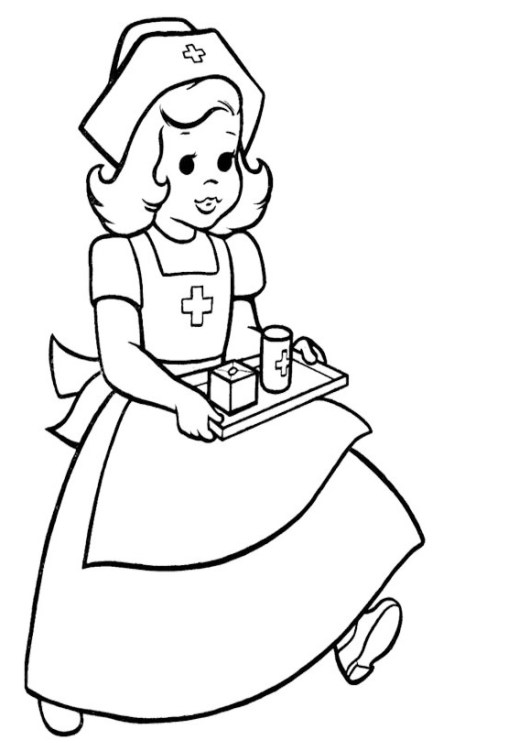 Nurse Coloring and Drawing Page
