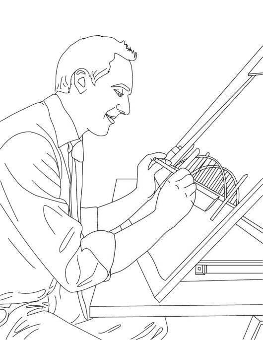 architect profession coloring page and fun learning