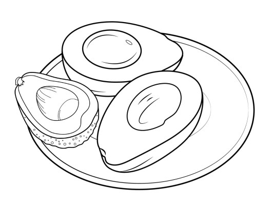 avocado in a plate coloring page