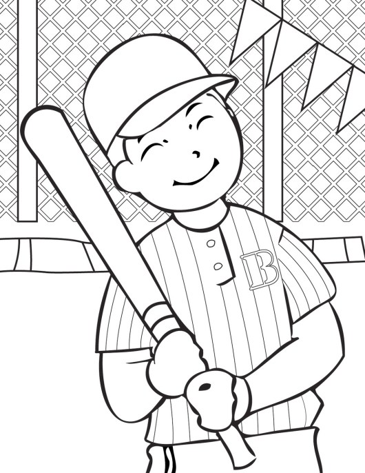 Baseball coloring and activity page for children for Baseball coloring pages for kids