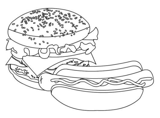 burger and hot dog coloring sheet