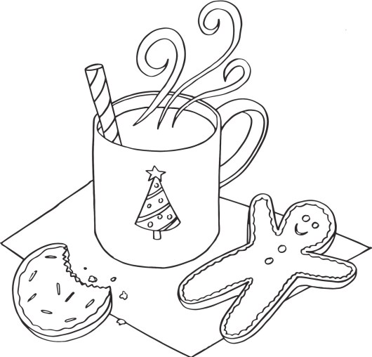 christmas coloring pages hot chocolate