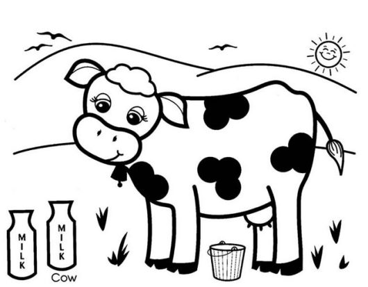 cow and milk coloring picture