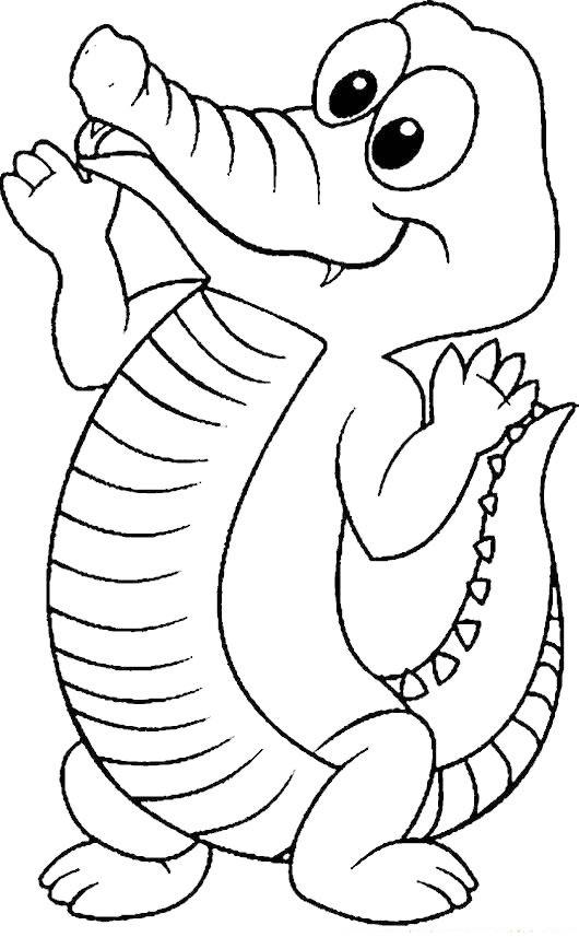 crocodile cartoon coloring page